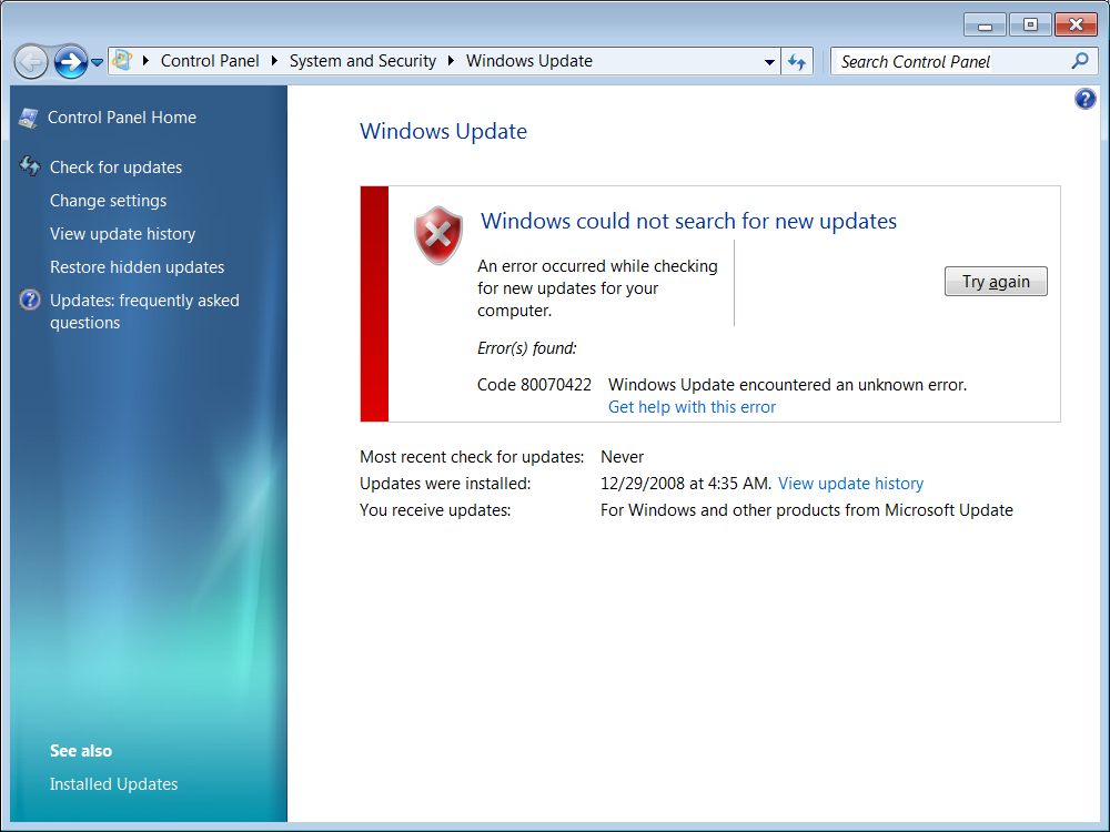 Windows update 更新错误 80240016